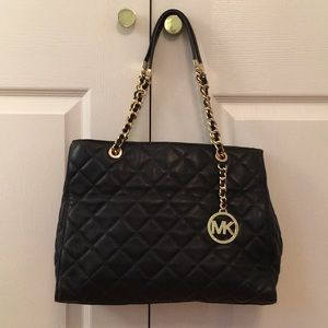 Michael Kors quilted navy pocketbook